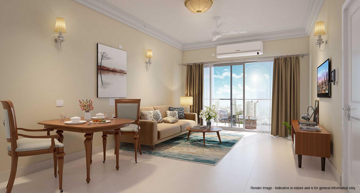 A living room in a premium senior living apartment