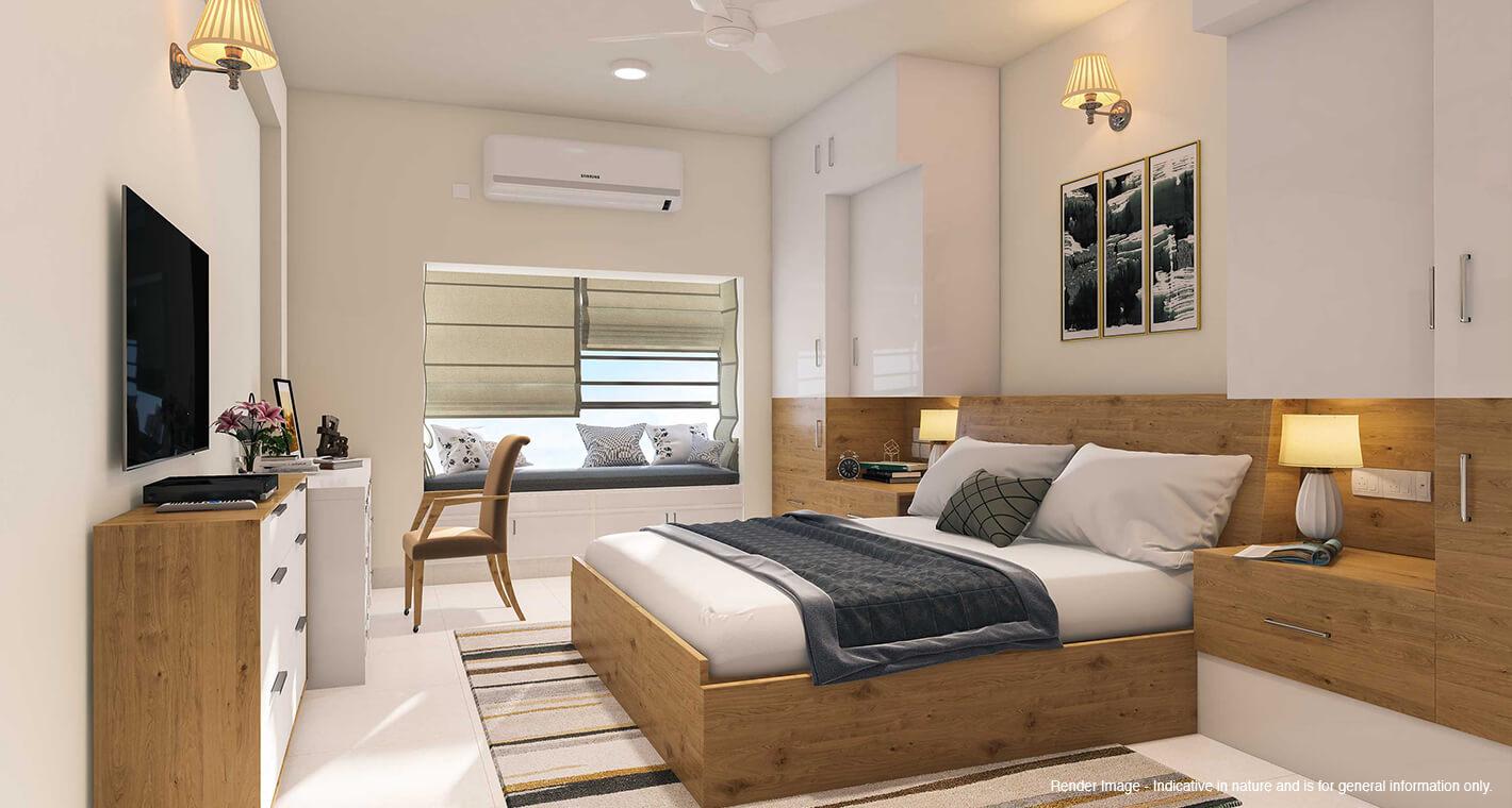 A bedroom in a premium senior citizen apartment