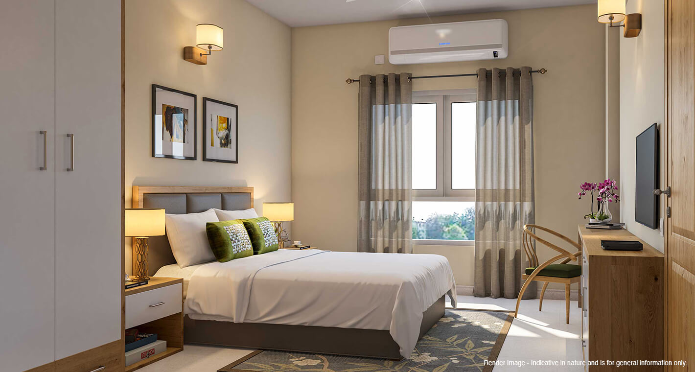 A well-decorated bedroom in a premium retirement apartment in Bangalore