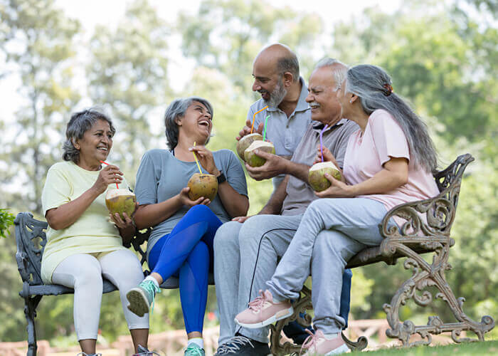 Happy residents of a senior living community