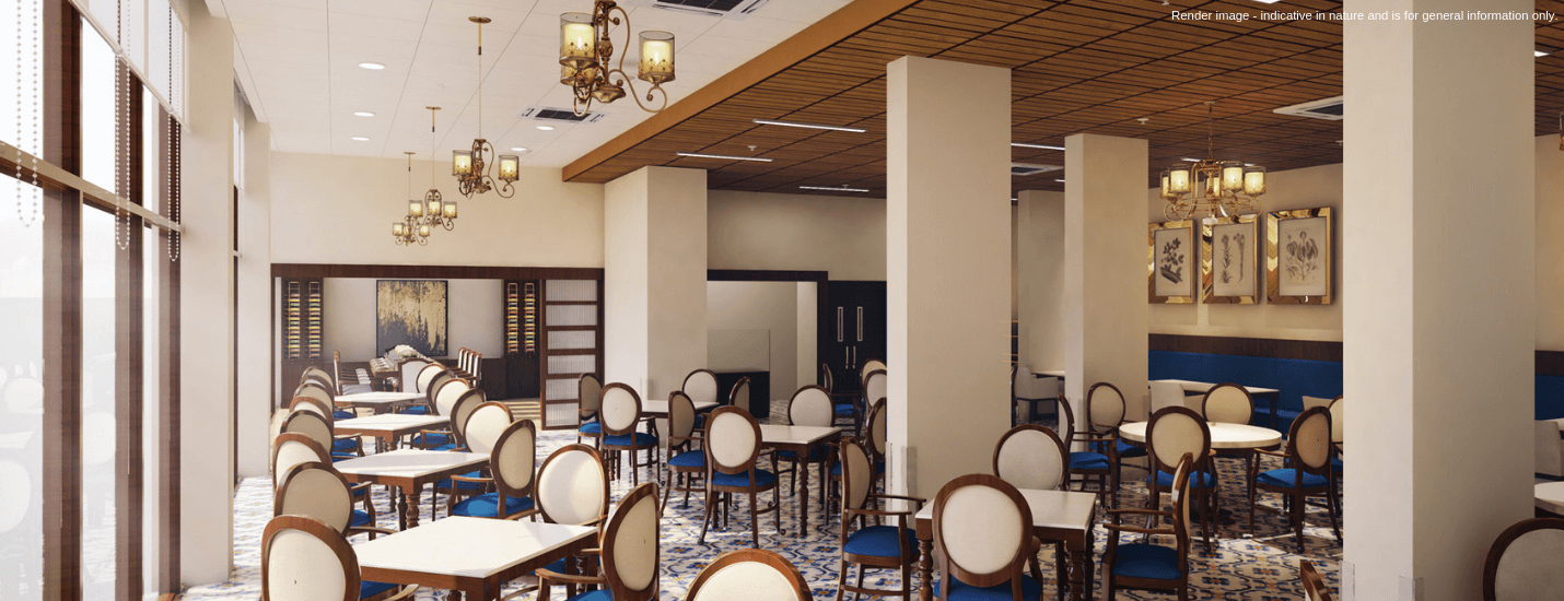 Dining hall of a popular retirement home in India