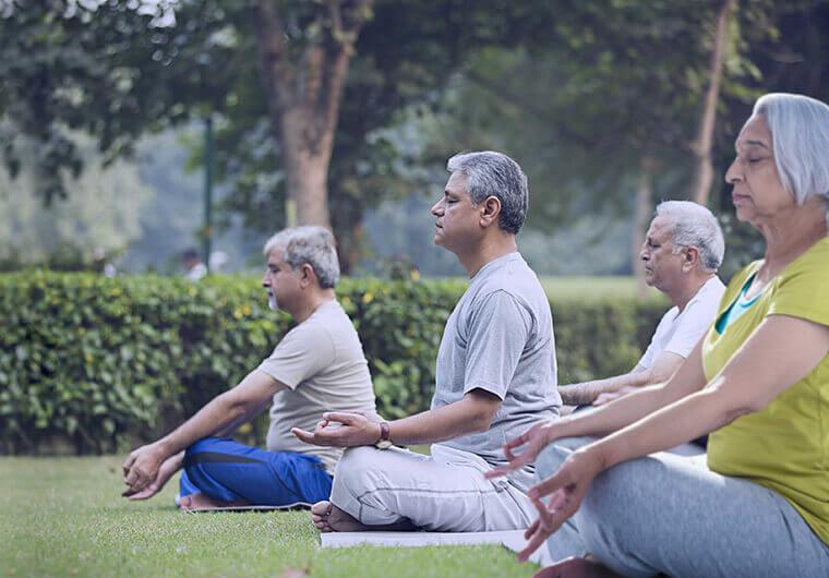 Yoga workshops at senior living communities in India