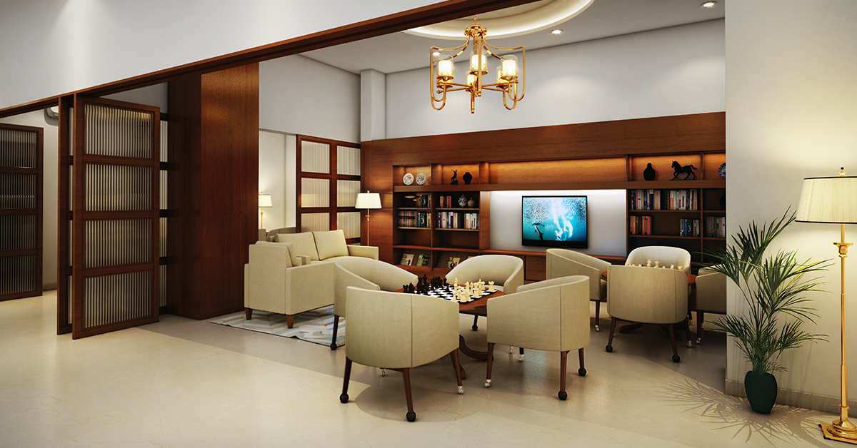 A recreational room in a senior living home