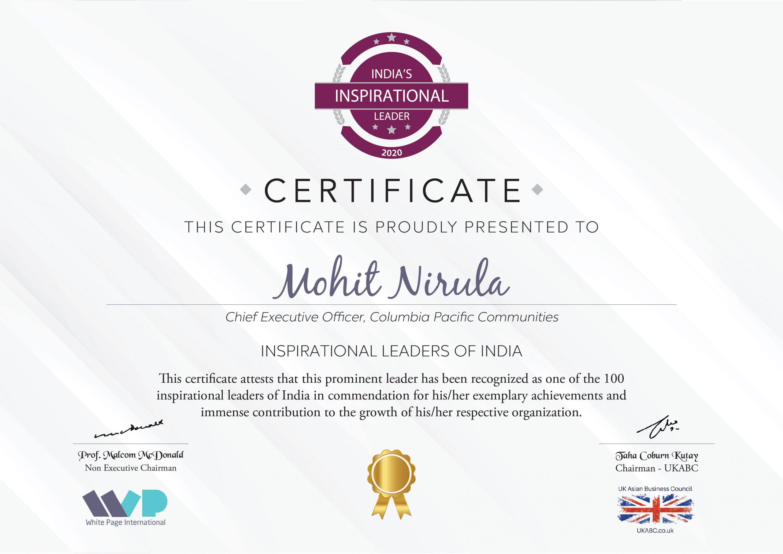 Mohit Nirula, CEO, Columbia Pacific Communities, recognised as one of the 100 inspirational leaders of India
