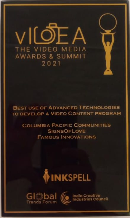 Columbia Pacific Communities wins an award for Best Use of Advanced Technologies to Develop a Video Content Program at vIDEA Awards 2021