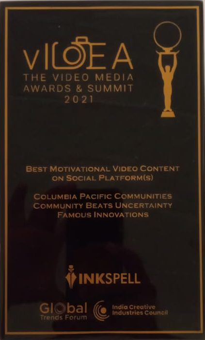 Columbia Pacific Communities wins award for Best Motivational Video Content on Social Media Platforms at vIDEA Awards 2021