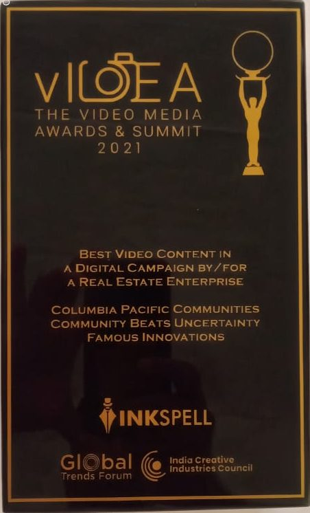 Columbia Pacific Communities wins the award for Best Video Content in a Digital Campaign at vIDEA Awards 2021